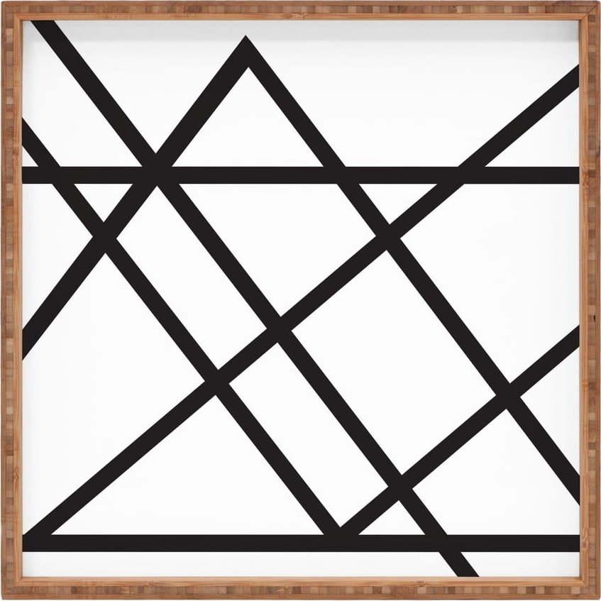 Dřevěný dekorativní servírovací tác Lines, 40 x 40 cm