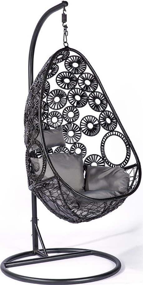 Černé závěsné křeslo z umělého ratanu Le Bonom Palma