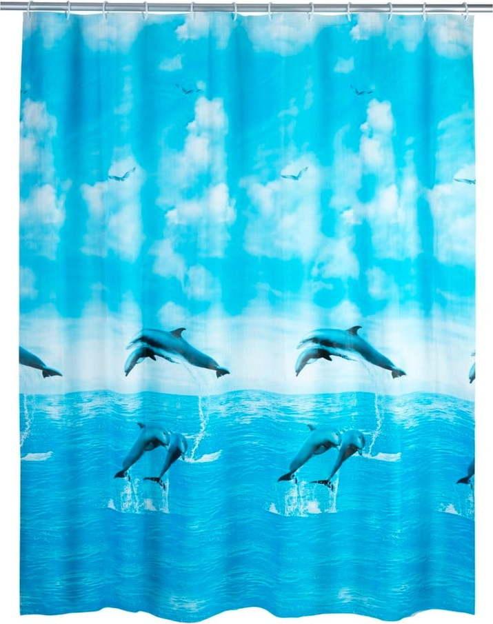 Modrý sprchový závěs Wenko Dolphin, 180x200cm