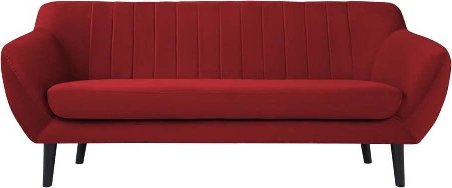 Červená pohovka pro tři Mazzini Sofas Toscane, černénohy