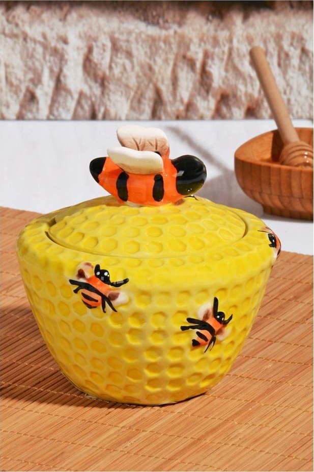 Baňatá dóza na med s víčkem Honey