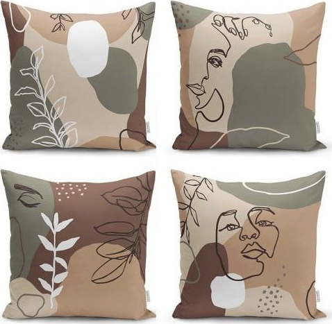 E-shop Sada 4 povlaků na polštáře Minimalist Cushion Covers Drawing Face, 45 x 45 cm